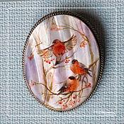 Украшения handmade. Livemaster - original item Brooch in the technique of lacquer miniature