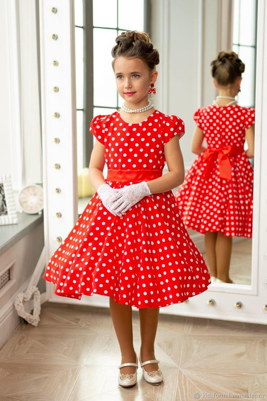 b8ce5240885 Красное нарядное платье для девочки Стиляги ретро в горох – купить в ...