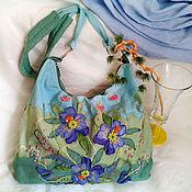 Сумка через плечо ручной работы. Ярмарка Мастеров - ручная работа Светлая бирюзово-салатовая джинсовая сумка через плечо Мятная нежность. Handmade.