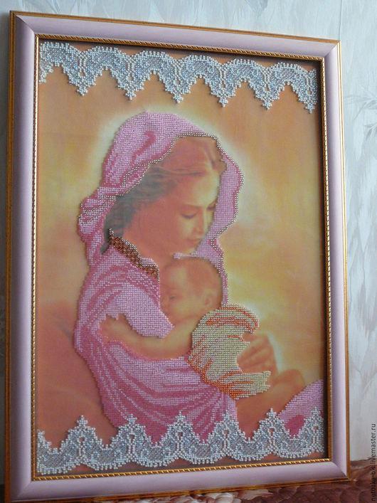 """Люди, ручной работы. Ярмарка Мастеров - ручная работа. Купить Картина из чешского бисера """"Счастье"""". Handmade. Розовый, женщина с ребенком"""