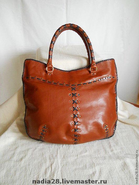 Женские сумки ручной работы. Ярмарка Мастеров - ручная работа. Купить Рыжая сумка из кожи с синей отделкой. Handmade.