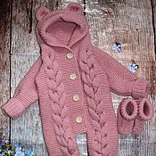 Работы для детей, handmade. Livemaster - original item Knitted jumpsuit for newborn 0-3 months. Handmade.