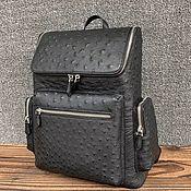 Сумки и аксессуары handmade. Livemaster - original item Backpack made of ostrich skin, stylish model, black color.. Handmade.