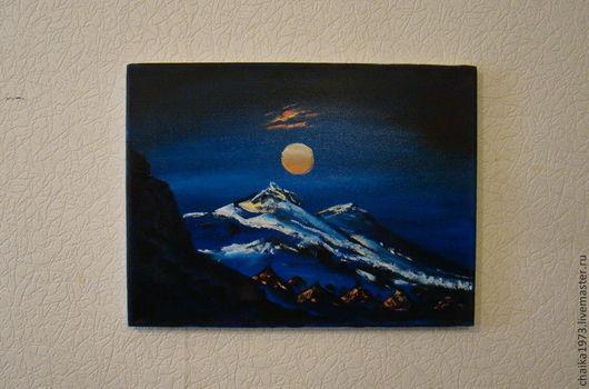 Пейзаж ручной работы. Ярмарка Мастеров - ручная работа. Купить Полнолуние. Handmade. Тёмно-синий, пейзаж, горы, луна, ночь