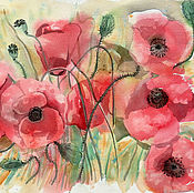 Картины и панно handmade. Livemaster - original item Sketch watercolor. Flowers of joy. Mac. Poppies red. Handmade.