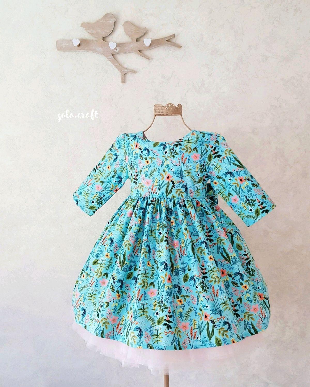 Голубое платье с цветочками из американского хлопка