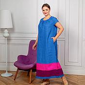 Одежда handmade. Livemaster - original item Author`s Linen dress in the floor cornflower blue. Handmade.