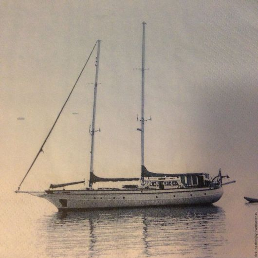 Салфетка для декупажа -Корабль-парусник дрефующий и море Декупажная радость