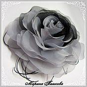 """Субкультуры ручной работы. Ярмарка Мастеров - ручная работа брошь роза из ткани """"Серая дымка"""". Handmade."""