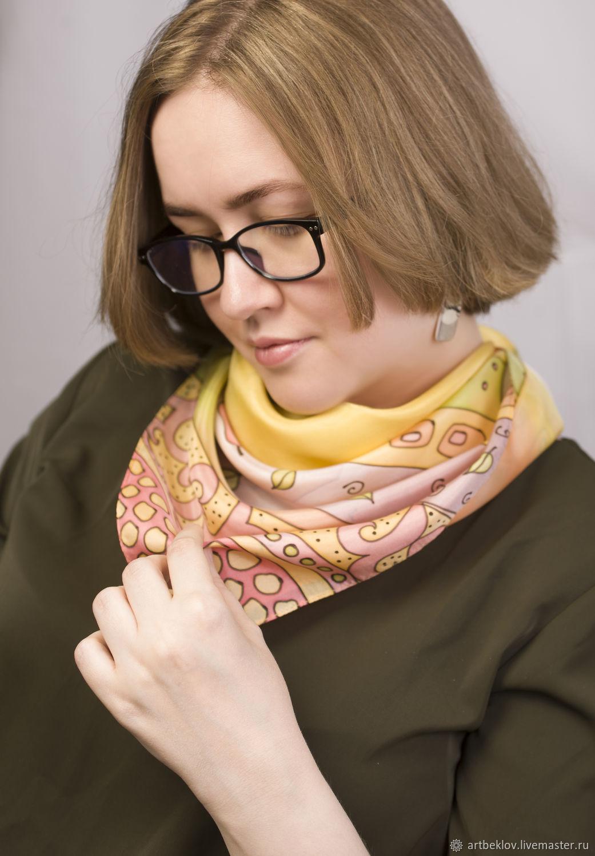 Handkerchief yellow 'Pear tree' batik 100% silk, Shawls1, Orekhovo-Zuyevo,  Фото №1