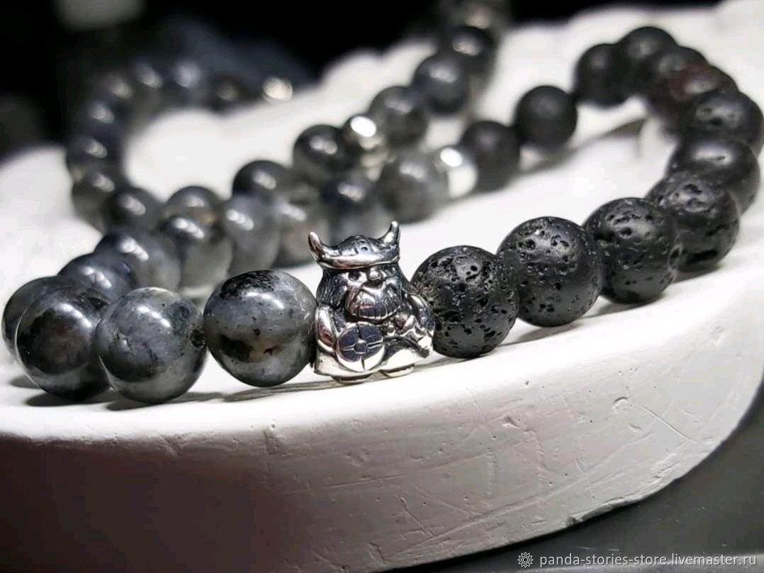 Viking bracelet, labradorite, lava, silver, Bead bracelet, Moscow,  Фото №1
