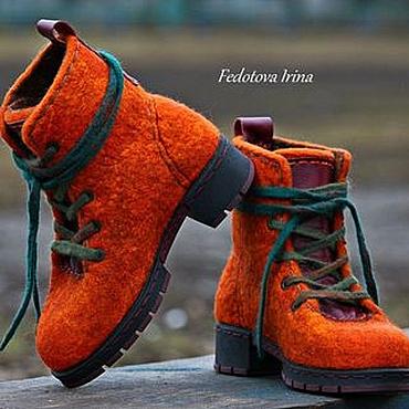 """Обувь ручной работы. Ярмарка Мастеров - ручная работа Ботинки войлочные """"Тициана"""". Handmade."""