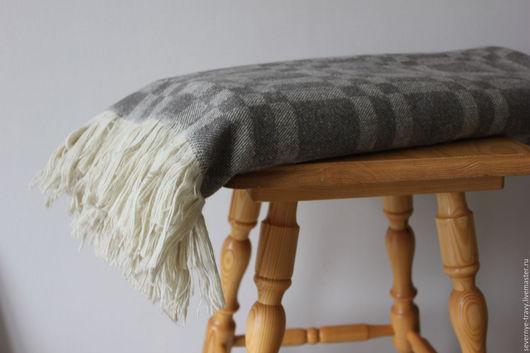 Текстиль, ковры ручной работы. Ярмарка Мастеров - ручная работа. Купить Плед серый шерстяной в клетку. Handmade. Плед
