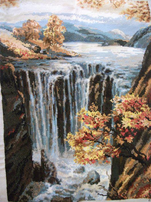 Пейзаж ручной работы. Ярмарка Мастеров - ручная работа. Купить Вышивка крестом. Водопад.. Handmade. Комбинированный, картина, пейзаж, природа