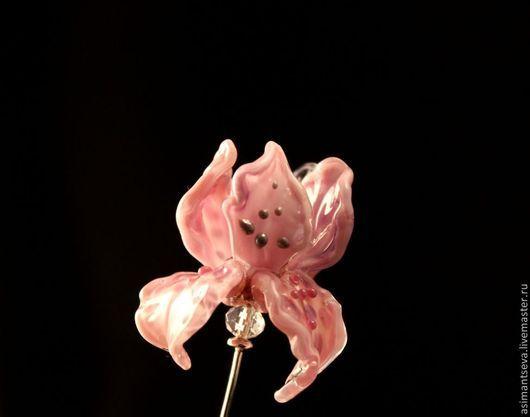 """Броши ручной работы. Ярмарка Мастеров - ручная работа. Купить Булавка лэмпворк """"Розовый ирис"""". Handmade. Розовый, венецианское стекло"""