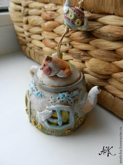 """Колокольчик """" Чай со вкусом лета"""" - с котиком на крыше, облаками и ветром:) \r\nцена -600 р"""