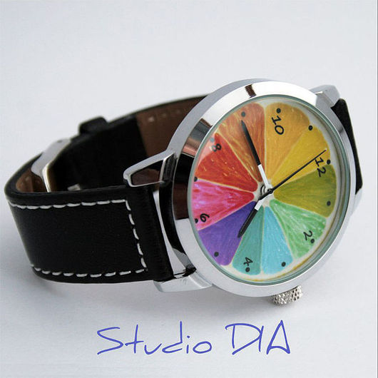 Оригинальные Дизайнерские Часы Разноцветный Лимон. Студия Дизайнерских Часов DIA.
