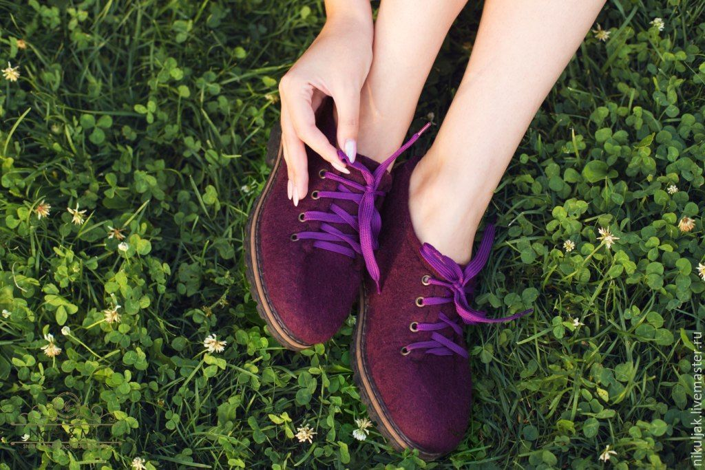 Shoes women's felted Ripe plum, Shoes, Dnepropetrovsk, Фото №1