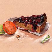Картины и панно handmade. Livemaster - original item Berry cake and macaroni cookies. Handmade.