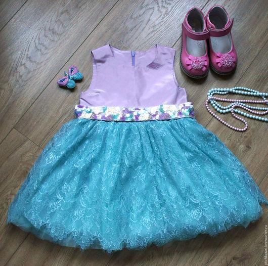 Одежда для девочек, ручной работы. Ярмарка Мастеров - ручная работа. Купить Платье Сиреневая бирюза. Handmade. Бирюзовый, платье для девочки