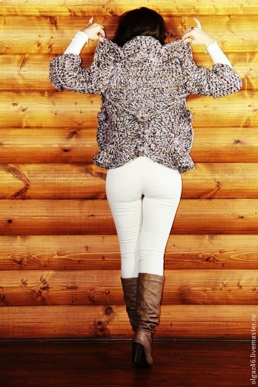 """Пиджаки, жакеты ручной работы. Ярмарка Мастеров - ручная работа. Купить Вязанный кардиган """"Меланжевая Медуза"""". Handmade. Бледно-сиреневый"""