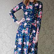 """Одежда ручной работы. Ярмарка Мастеров - ручная работа Платье длинное """" Розы на синем"""". Handmade."""