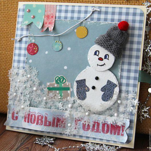 """Открытки к Новому году ручной работы. Ярмарка Мастеров - ручная работа. Купить Новогодняя открытка """"Снеговик"""". Handmade. Комбинированный, на новый год"""