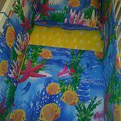 Работы для детей, handmade. Livemaster - original item Bumpers and bed linen in the crib of the newborn.. Handmade.