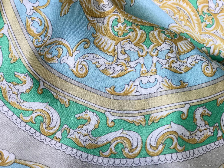 Шарфик Мосты Петербурга в стиле Versace. Шелк, шелковый бархат, Шарфы, Санкт-Петербург,  Фото №1