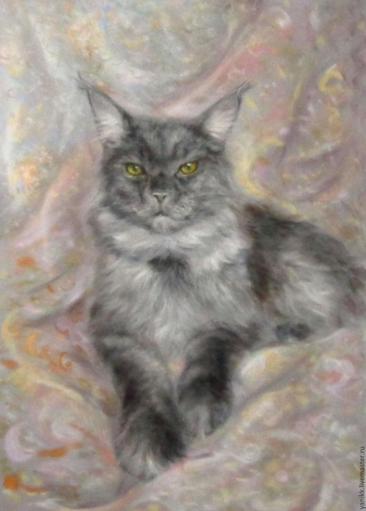 Животные ручной работы. Ярмарка Мастеров - ручная работа. Купить Кот мейн кун - портрет пастелью.. Handmade. Кот, коты