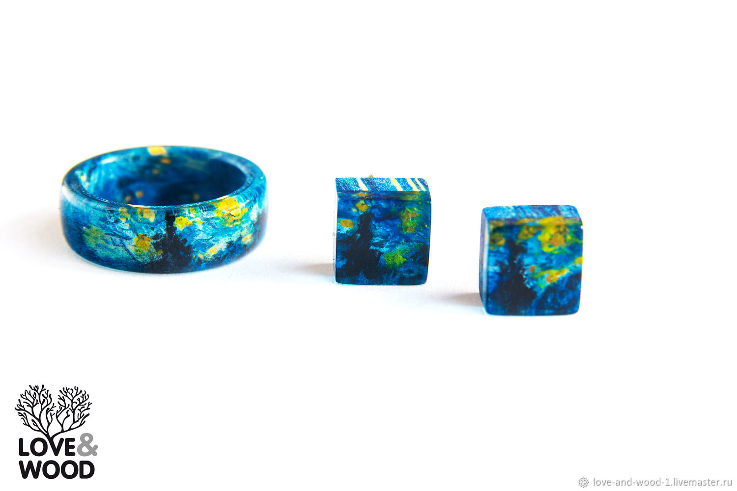 Van Gogh Starry night.Ring and earrings made of wood and resin.Hand painted, Jewelry Sets, Moscow,  Фото №1