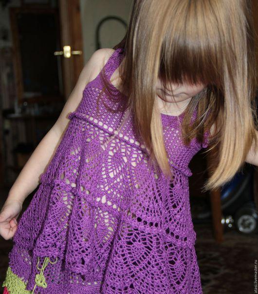 Одежда для девочек, ручной работы. Ярмарка Мастеров - ручная работа. Купить Туника для девочки. Handmade. Тёмно-фиолетовый, туника крючком