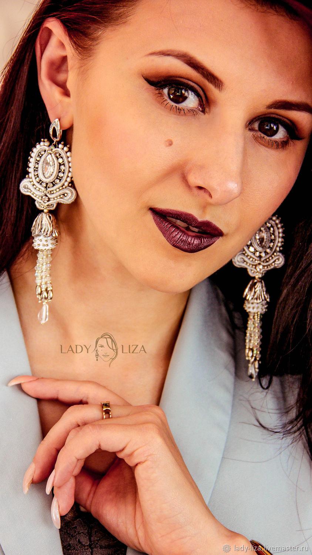 Soutache Valentine earrings. Long earrings. Wedding jewelry, Earrings, Zelenokumsk,  Фото №1