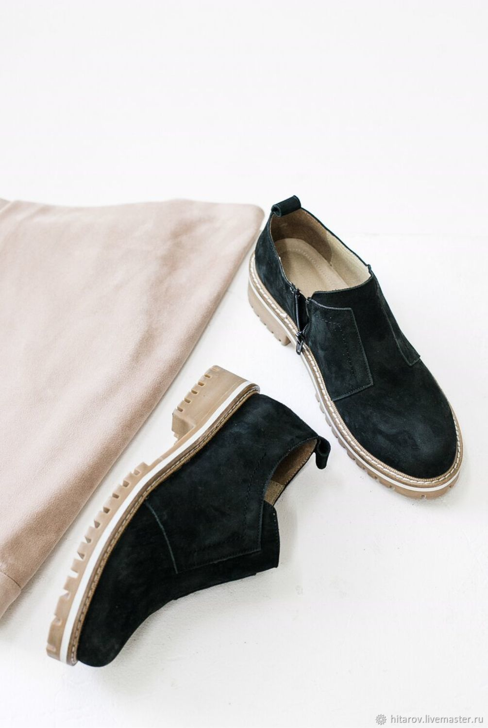 Shoes with zipper black nubuck beige sole, Brogues, Moscow,  Фото №1