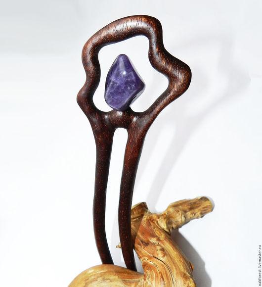 """Заколки ручной работы. Ярмарка Мастеров - ручная работа. Купить Заколка для волос из дерева """"Лазурь"""" (Амарант). Handmade. Заколка из дерева"""