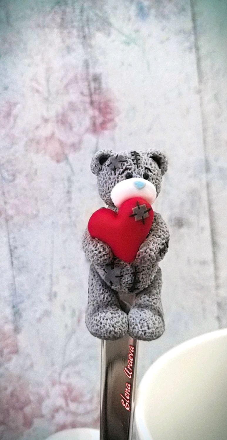 Ложечка с мишкой Тедди с сердцем из полимерной глины, Ложки, Рыбинск,  Фото №1
