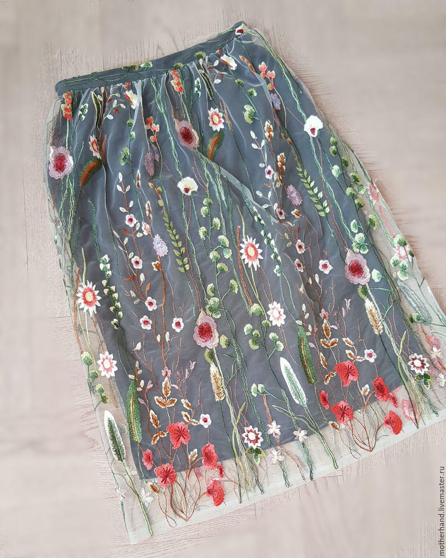 Юбка из сетки с вышивкой