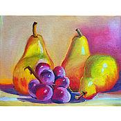 Картины и панно handmade. Livemaster - original item Pears and grapes. Summer still life.. Handmade.