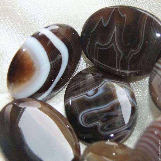 Для украшений ручной работы. Ярмарка Мастеров - ручная работа. Купить ВОЛНЫ крупный коричневый агат бусины овальные 1/2 нити. Handmade.