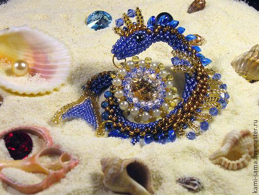 Броши ручной работы. Ярмарка Мастеров - ручная работа. Купить Морской дракончик. Handmade. Синий, дракон, swarovski, swarovski кристаллы