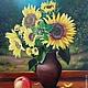 """Натюрморт ручной работы. Ярмарка Мастеров - ручная работа. Купить """"Подсолнухи"""". Handmade. Комбинированный, цветы, яблоко, лето, холст на подрамнике"""