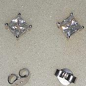 Украшения handmade. Livemaster - original item Square Stud Earrings Silver Moissanites. Handmade.