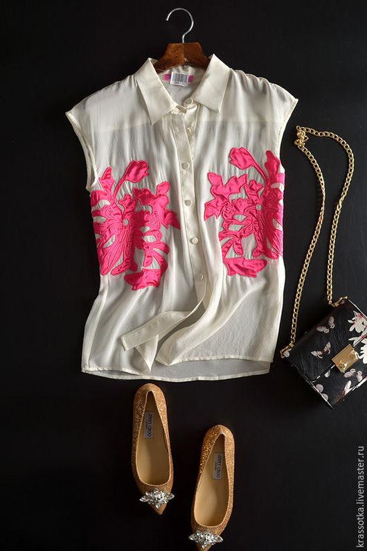 """Блузки ручной работы. Ярмарка Мастеров - ручная работа. Купить """"Морские кораллы"""" шелк блуза. Handmade. Белый, фуксия"""
