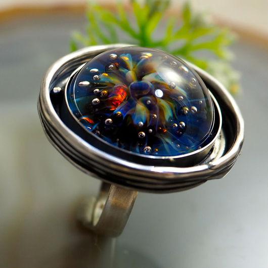 """Кольца ручной работы. Ярмарка Мастеров - ручная работа. Купить Кольцо """"Сады морской Семирамиды""""- лемпворк, серебро 925. Handmade."""