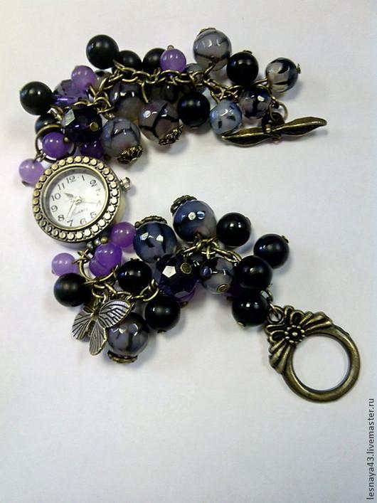 Часы ручной работы. Ярмарка Мастеров - ручная работа. Купить Часы-браслет из натурального серо-черного агата. Handmade. Серый