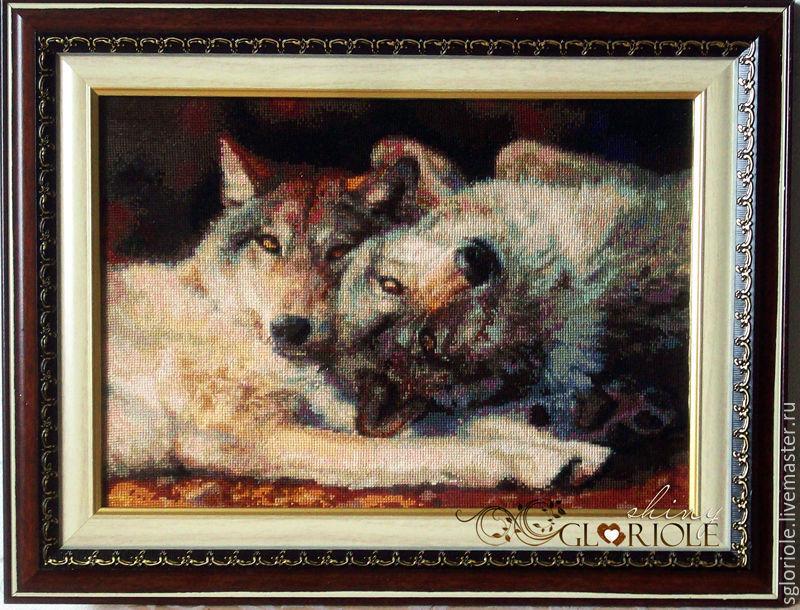 Вышивка счастливая пара волки