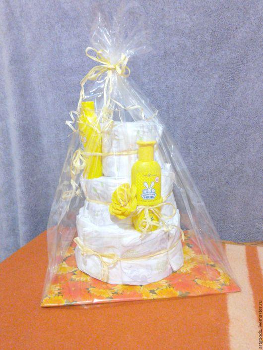 Подарки для новорожденных, ручной работы. Ярмарка Мастеров - ручная работа. Купить Торт из памперсов. Handmade. Белый, для ребенка, торт из памперсов