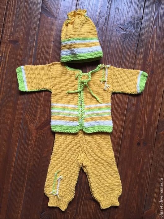 """Одежда для мальчиков, ручной работы. Ярмарка Мастеров - ручная работа. Купить Вязанный комплект """"Ваня"""". Handmade. Желтый, вязанный крючком"""