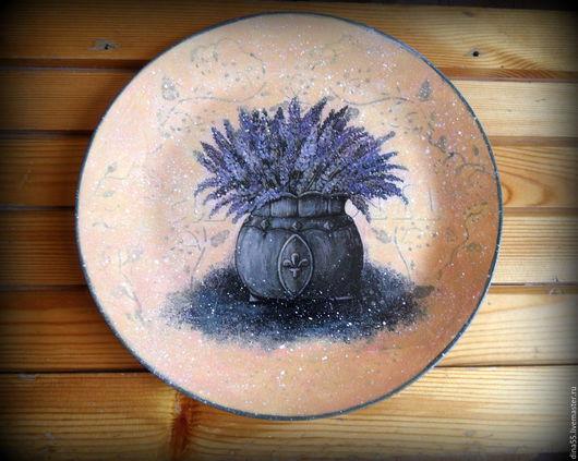 Картины цветов ручной работы. Ярмарка Мастеров - ручная работа. Купить декоративная тарелка Лаванда прованс. Handmade. Фиолетовый