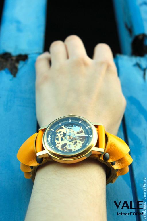 Часы наручные женские lemon rind на браслете из натуральной кожи желтый цвет.
